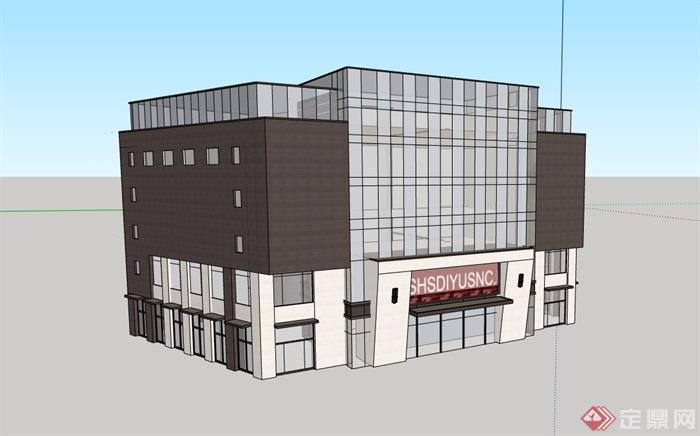 現代多層詳細的商業樓建筑su模型
