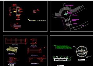 园林景观铺装、喷泉、座椅设计cad施工图
