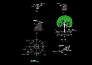 园林景观节点树池素材设计cad施工图