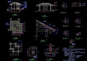 园林景观双拼亭子设计cad施工图