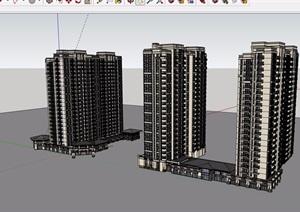 现代小区商业住宅完整建筑楼设计SU(草图大师)模型