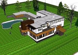 两层现代风格住宅别墅设计SU(草图大师)模型