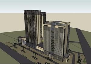 现代高层商住楼建筑素材设计SU(草图大师)模型
