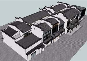古典中式沿街古建商业建筑设计SU(草图大师)模型