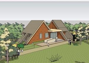 某景区详细的公厕建筑设计SU(草图大师)模型