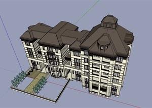 法式大平层住宅楼建筑设计SU(草图大师)模型