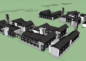 某古镇商业街多层详细建筑设计SU(草图大师)模型