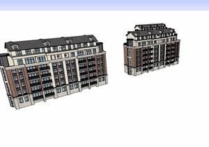 欧式风格详细的多层洋房楼设计SU(草图大师)模型