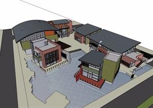 某现代风格商业中心多层建筑设计SU(草图大师)模型
