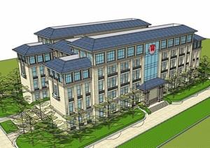 欧式风格五层小办公楼建筑设计SU(草图大师)模型