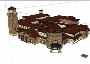 西班牙风格多层精致的会所建筑SU(草图大师)模型