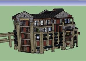 民国商业建筑详细完整建筑设计SU(草图大师)模型