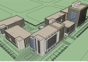 某现代风格详细的多层办公建筑楼设计SU(草图大师)模型