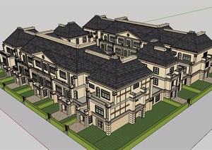 法式联排别墅四合院住宅建筑设计SU(草图大师)模型