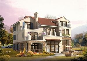 欧式风格详细的三层别墅建筑设计cad方案、SU(草图大师)模型及效果图
