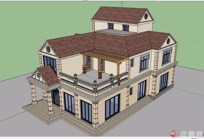 欧式风格详细的三层别墅建筑设计cad方案、su模型及效果图
