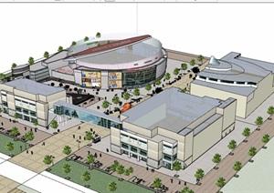 某现代风格多栋商业中心建筑设计SU(草图大师)模型