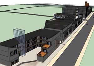 某现代街边多层详细的商业楼建筑设计SU(草图大师)模型