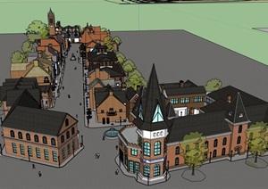 英式商业街的意向多层建筑设计SU(草图大师)模型