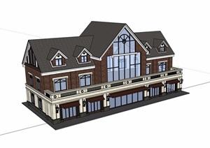 英式商业街三层详细建筑设计SU(草图大师)模型