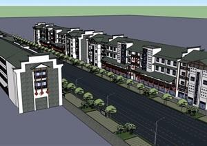 新中式风格详细的多层商业街建筑楼设计SU(草图大师)模型