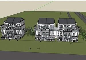 中式叠拼别墅多层详细建筑设计SU(草图大师)模型