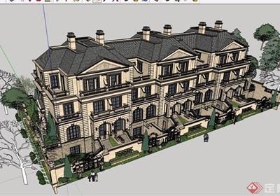 一个经典欧式联排别墅建筑设计su模型