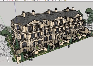 一个经典欧式联排别墅建筑设计SU(草图大师)模型