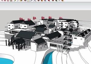 某中式风格山地旅馆酒店设计SU(草图大师)模型