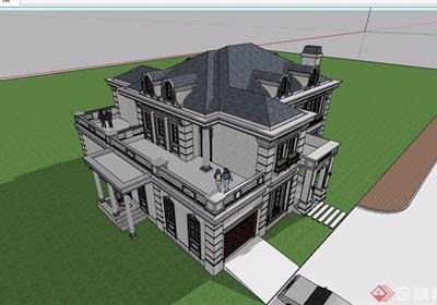 法式独栋详细多层别墅设计su模型