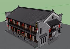 中式风格详细的经典商业楼设计SU(草图大师)模型