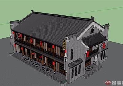 中式风格详细的经典商业楼设计su模型