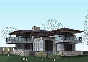 草原山地详细别墅两层建筑设计SU(草图大师)模型
