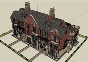欧式风格多层详细四联排建筑别墅设计SU(草图大师)模型