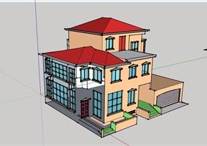 欧式风格三层住宅别墅设计SU(草图大师)模型
