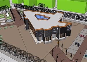 某现代风格商业中心建筑设计SU(草图大师)模型
