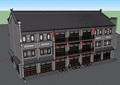 古典中式风格详细的三层商业楼建筑设计su模型