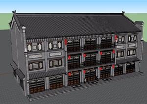 古典中式风格详细的三层商业楼建筑设计SU(草图大师)模型