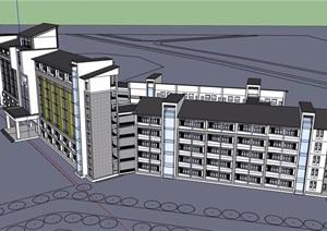 中式风格详细的多层学校教育建筑楼设计SU(草图大师)模型