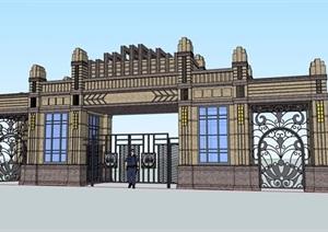 某新古典住宅详细的完整小区大门SU(草图大师)模型