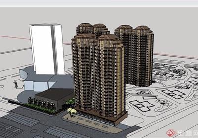 某现代风格详细的住宅高层小区建筑楼设计su模型