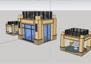 某详细的完整住宅小区大门素材SU(草图大师)模型