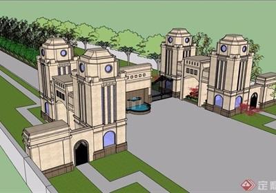 法式经典大门入口走廊素材设计su模型
