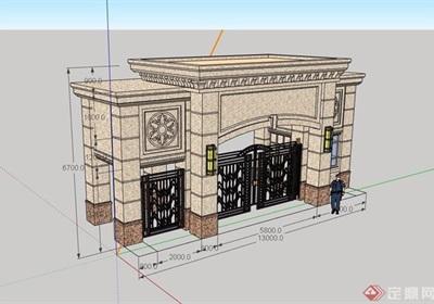 某入口小区大门素材设计su模型