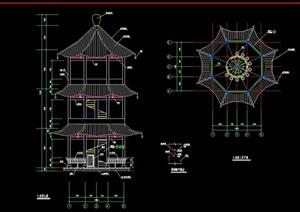 八角塔素材设计cad施工图