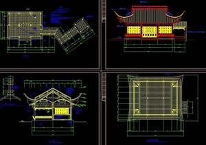古典中式风格详细的单层茶室建筑cad施工图