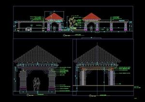 某欧式风格凉亭廊架组合素材cad施工图