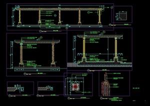 某园林景观现代风格特殊廊架cad施工图