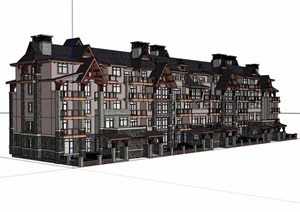 住宅多层详细的住宅楼设计SU(草图大师)模型