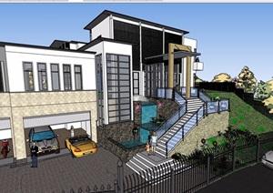 某现代风格详细的整体完整别墅设计SU(草图大师)模型